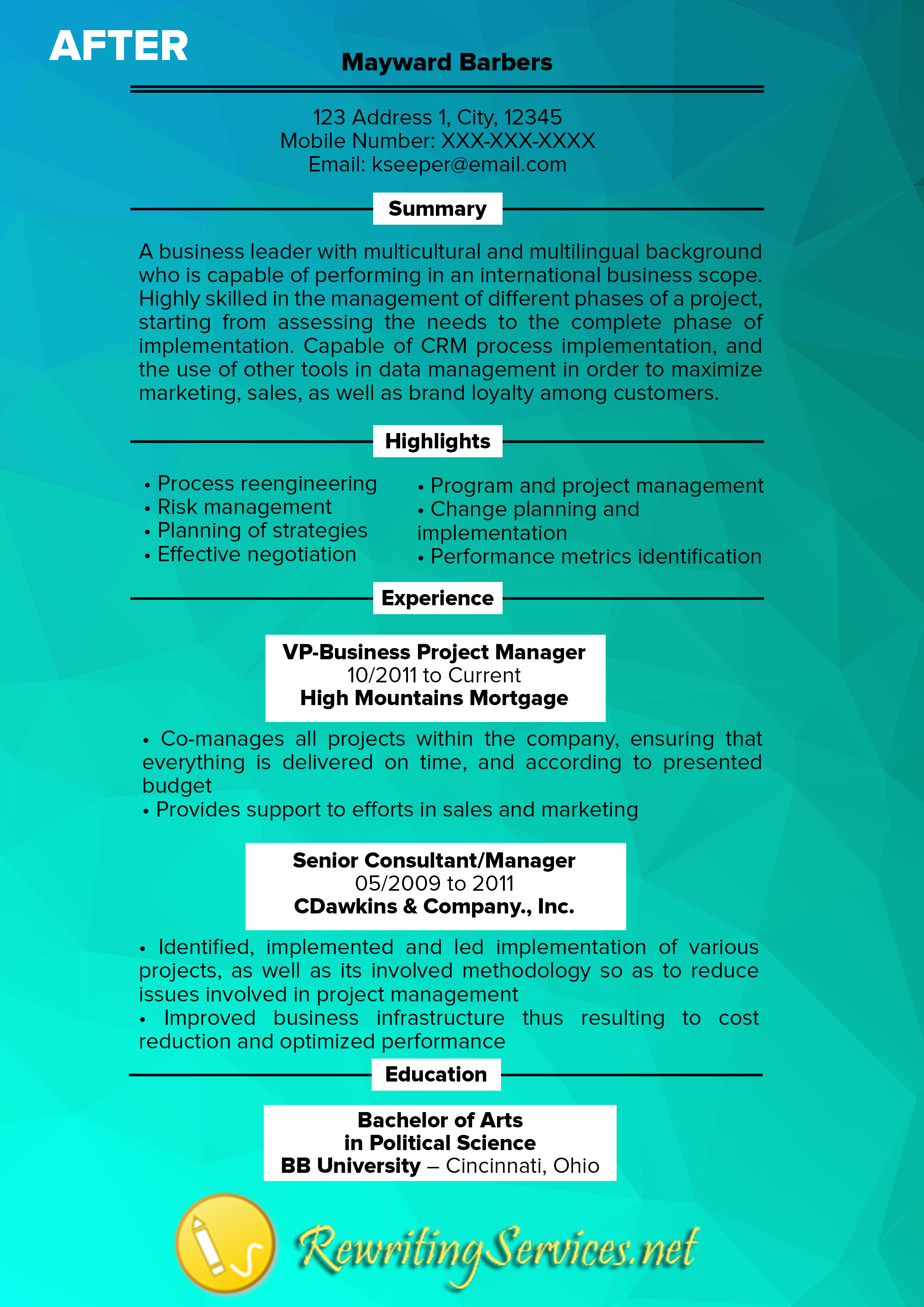 resume rewriting example